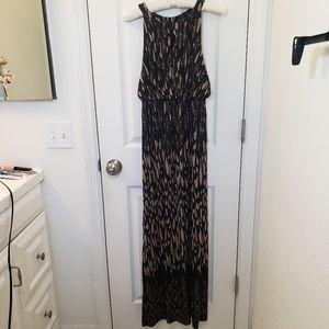 Soma Maxi Dress Tan Black Print